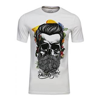JACK & JONES Herren T-Shirt JORsoytan Tee SS Crew Neck Skull Print, (Cloud Dancer,S)
