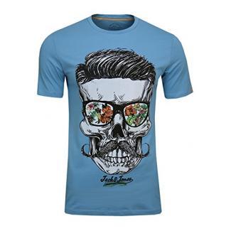 JACK & JONES Herren T-Shirt JORsoytan Tee SS Crew Neck Skull Print, (Norse Blue,S)