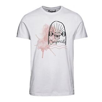 Jack & Jones Herren T-Shirt Kurzarmshirt Print Shirt (S, White)