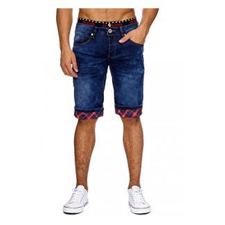 Jaylvis Herren Jeans Shorts in Regular Fit mit Used Details, Crumble Crinkle Acid Washed, Bermuda mit geradem Bein (Straight Leg) und Glen Check Karo Print H1862,Dunkelblau,W32