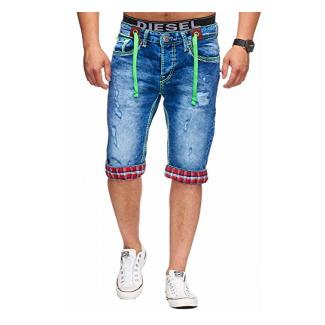 L.Gonline Bermuda Shorts Herren Jeans Shorts Dicke Naht (W38, 198)
