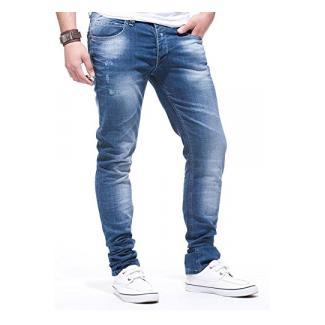 LEIF NELSON Herren Hose Jeans Stretch Jeanshose Cargo Freizeithose Jeans LN271; W33L32, Blau