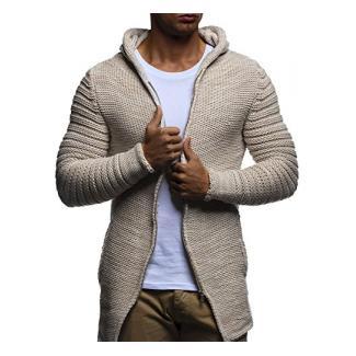 LEIF NELSON Herren Jacke Hoodie Strickjacke Pullover Kapuzenpullover Jacke Sweatjacke Zipper Sweatshirt Strick LN20731; Größe S, Beige