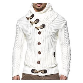 LEIF NELSON Herren Pullover Strickjacke Hoodie Jacke Kapuzenpullover Sweatshirt Longsleeve LN4195 (XXXX-Large, Weiss/Beige)