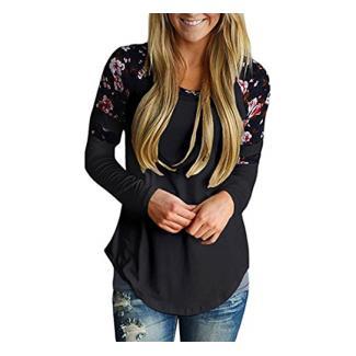 Longra Damen Shirt Langarm Bluseshirt mit Blumendruck Basic Langarmshirt Striped Oberteil Casual Tops Bluse Elegant Lose Frühling Herbst (Black, XL)