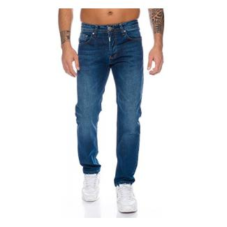 Lorenzo Loren Herren Jeans Hose Denim Jeans Used-Look Regular-Fit [LL324 - Dunkelblau - W31 L34]