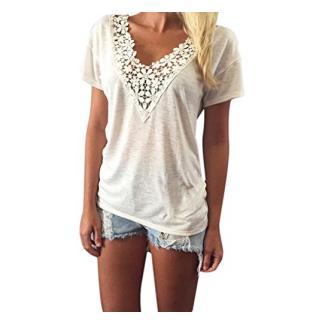 LSAltd Damen Spitze V Ansatz Kurzschluss Hülsen Weste Oberseiten Blusen T-Shirt Sommer (Weiß, S)