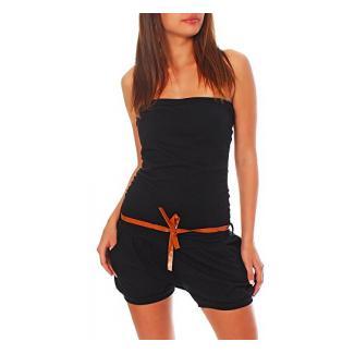 malito kurzer Jumpsuit mit Gürtel Einteiler 8964 Damen One Size (schwarz)