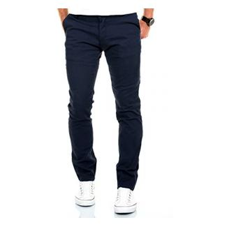 Merish Chino Stretch Slim-Fit Figurbetont Stoffhose Hose Jeans Modell 168 Dunkelblau 34-32