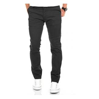 Merish Chino Stretch Slim-Fit Herren High Quality Hose Neu Stoffhose Jeans 168 Dunkelgrau 31-30