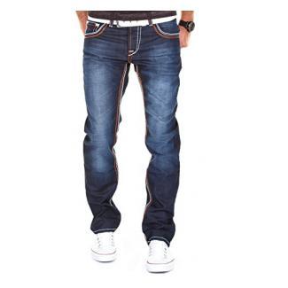 MERISH Herren Jeanshose Denim Dicke Naht Darkblue Trend Usedlook Jeans Hose Neu J9148 32/32