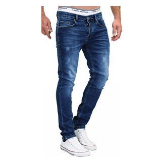 MERISH 5-Pocket Denim Jeans Stretch Used Look Skinny Modell 048 Mittelblau 38-34