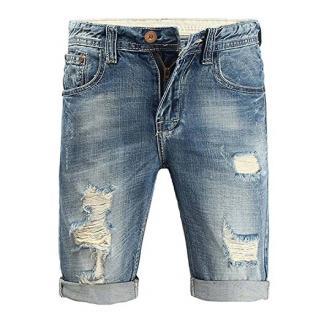 Minetom Herren Sommer Bermuda Jeans Cargo Shorts Vintage Freizeit Stretch Destroyed Used-Look Kurze Hose Denim Atmungsaktive Sporthose Blau 34W