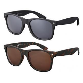 Original La Optica Verspiegelte UV400 Unisex Sonnenbrille Wayfarer Art - Farben, Einzel-/Doppelpacks (Doppelpack Rubber (Rahmen: 1 x Schwarz, 1 x Tortoise))