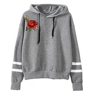 OVERDOSE Damen Blume Stickerei Applique Langarm Hoodie Pullover Sweatshirt Strickjacke Crop Top Coat Sport Pullover Tops (S, A-Grau)
