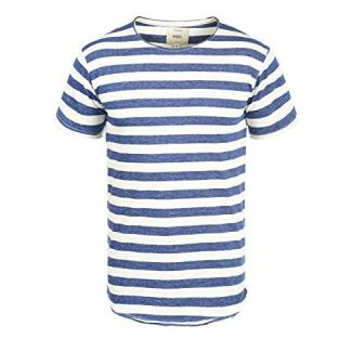 Redefined Rebel Milo Herren T-Shirt Kurzarm Shirt Streifenshirt mit Streifen und Rundhalsausschnitt 100% Baumwolle, Größe:S, Farbe:Blue
