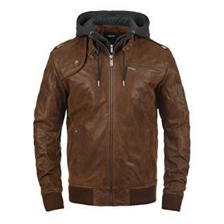 !Solid Ash Herren Lederjacke Bikerjacke Echtleder Mit Abnehmbarer Sweat-Kapuze, Größe:S, Farbe:Cognac (5048)