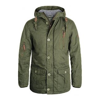 SOLID Clark Herren Winterjacke mit hochabschließendem Kragen und Kapuze aus 100% Baumwolle, Größe:L, Farbe:Ivy Green (3797)