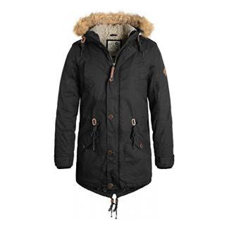 SOLID Clark Teddy Herren Parka lange Winterjacke aus 100% Baumwolle mit Kapuze und Kunstfellkragen, Größe:XXL, Farbe:Black (9000)