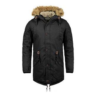 SOLID Clarki Teddy Herren Parka lange Winterjacke mit Fell-Kapuze und Teddy-Futter aus 100% Baumwolle, Größe:S, Farbe:Black (9000)