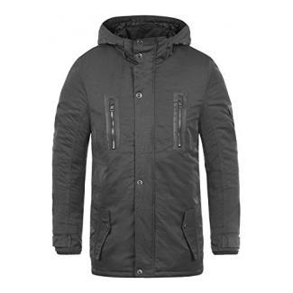 SOLID Daemon Herren Parka lange Winterjacke mit Stehkragen und Kapuze aus hochwertigem Material, Größe:XL, Farbe:Dark Grey (2890)