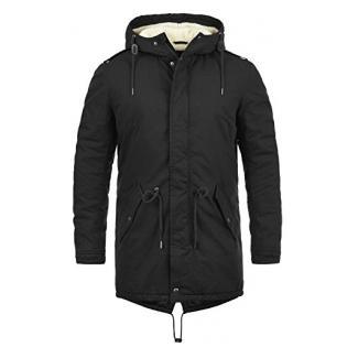 SOLID Darnell Herren Parka lange Winterjacke Mantel mit Teddy-Fell und Kapuze aus 100% Baumwolle , Größe:XL, Farbe:Black (9000)