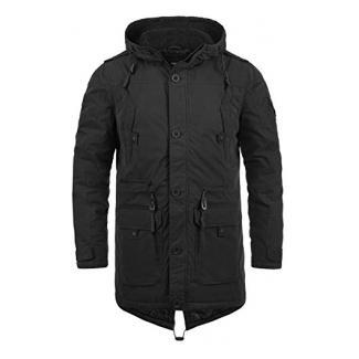 SOLID Davido Herren Parka lange Winterjacke mit Kapuze aus hochwertiger Baumwollmischung, Größe:M, Farbe:Black (9000)