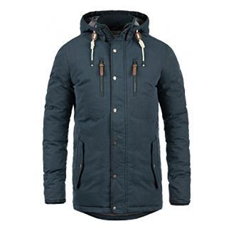 SOLID Dry Jacque Herren Parka lange Winterjacke Mantel mit Kapuze aus hochwertiger Baumwollmischung, Größe:L, Farbe:Insignia Blue (1991)