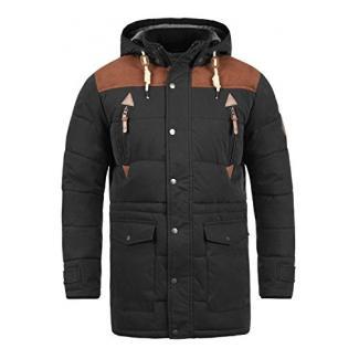SOLID Dry Long Herren Winterjacke Jacke mit Stehkragen und abnehmbarer Kapuze aus hochwertiger Baumwollmischung, Größe:XL, Farbe:Black (9000)