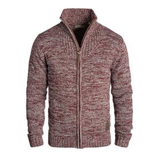 SOLID Herren Pomeroy Strickjacke Cardigan mit Stehkragen aus 100% Baumwolle, Größe:XXL, Farbe:Wine Red Melange (8985)