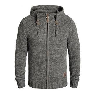 SOLID Pancras Herren Zip-Hoodie Strickjacke Cardigan mit Kapuze aus 100% Baumwolle Meliert, Größe:XXL, Farbe:Dark Grey (2890)