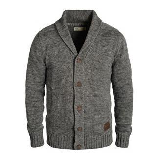 SOLID Philip Herren Strickjacke Cardigan Grobstrick mit Schalkragen aus 100% Baumwolle Meliert, Größe:L, Farbe:Dark Grey (2890)