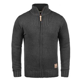 SOLID Poul Herren Strickjacke Cardigan mit Stehkragen aus hochwertiger Baumwollmischung, Größe:XL, Farbe:Dark Grey Melange (8288)