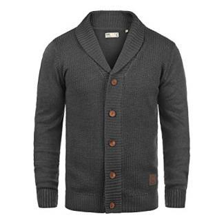 SOLID Torres Herren Strickjacke Cardigan Feinstrick mit Schal-Kragen und V-Ausschnitt aus hochwertiger Baumwollmischung Meliert, Größe:XL, Farbe:Dark Grey Melange (8288)