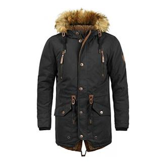 SOLID Vidage Herren Parka lange Winterjacke mit Kapuze und Fellkragen aus hochwertiger Baumwollmischung, Größe:L, Farbe:Black (9000)