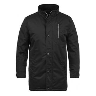 !Solid Wallo Herren Übergangsjacke Parka Lange Jacke Mit Stehkragen, Größe:L, Farbe:Black (9000)