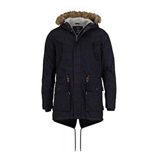 Solid Winterjacken Herren Parka - lange Winterjacke mit Kapuze und Fellkragen, Aktuelles Modell, Schwarz Größe L