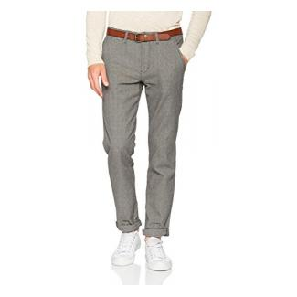 TOM TAILOR DENIM Herren Hose Chino Yarn Dye with Belt, Grau (Somber Grey 2801), W30/L32 (Herstellergröße: 30)