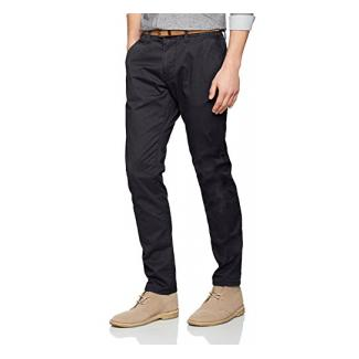 TOM TAILOR Herren Hose Travis Casual Chino w/ Belt, Blau (lunar eclipse 6911), 36/34