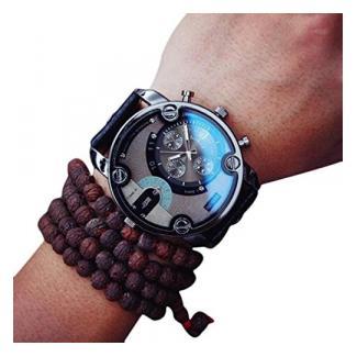 Ularma Herren 51mm Groß Dial Uhr PU Leder Band Hübsch Punk Steam Quarz Analog Armbanduhr