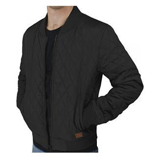 urban air   Street Classics   Bomberjacke, College-Jacke   Herren   mit Lederpatch, gesteppt   schwarz, navy, weinrot oder olive   M,L, XL (L, schwarz)