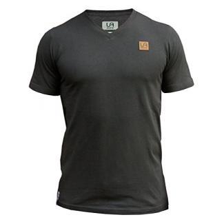 urban air StyleFit | T-Shirt | Herren | für Sport und Freizeit | 100% Baumwolle, Leder-Patch, V-Ausschnitt, ohne Aufdruck, Kurzarm | Dunkel Grau/Navy | S | Leicht Tailliert