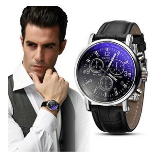 Yogogo Herren Quartz Analog Ray Armband , 1 Cent Artikel Armbanduhr | Lederband | Dekoration | Sportuhr | Geschenk | Alugehäuse | Quarzwerk | 24cm Bandlänge (Schwarz)