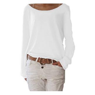 ZIOOER New Arrival Design Damen Pulli Langarm T-Shirt Rundhals Ausschnitt Lose Bluse Hemd Pullover Oversize Sweatshirt Oberteil Tops Weiß M